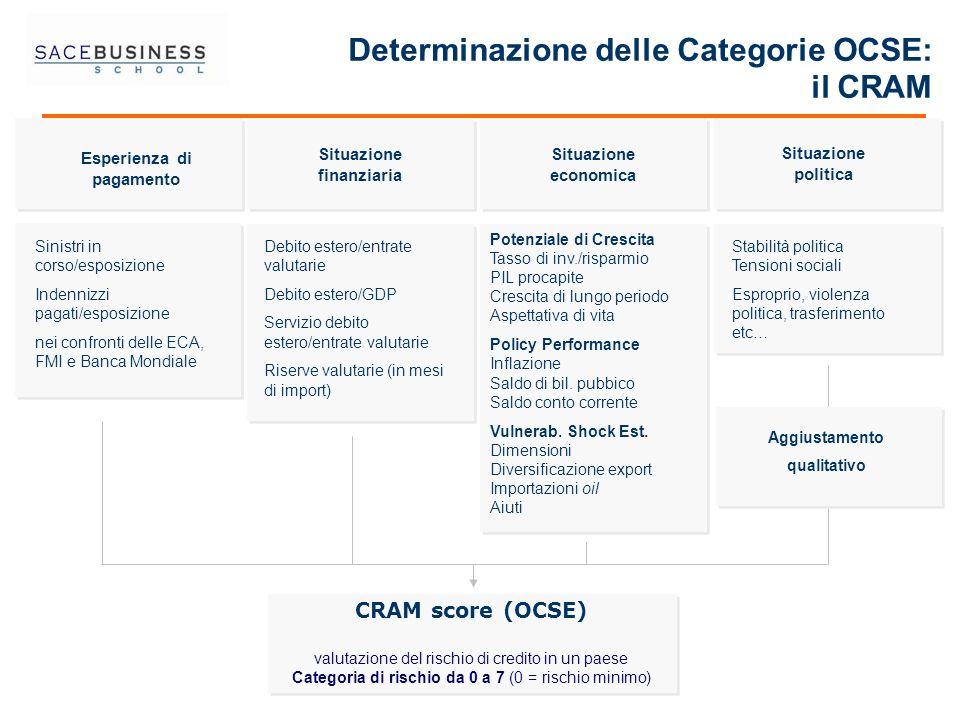 Situazione economica Situazione finanziaria Esperienza di pagamento CRAM score (OCSE) valutazione del rischio di credito in un paese Categoria di risc