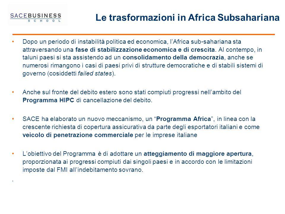 Dopo un periodo di instabilità politica ed economica, lAfrica sub-sahariana sta attraversando una fase di stabilizzazione economica e di crescita. Al