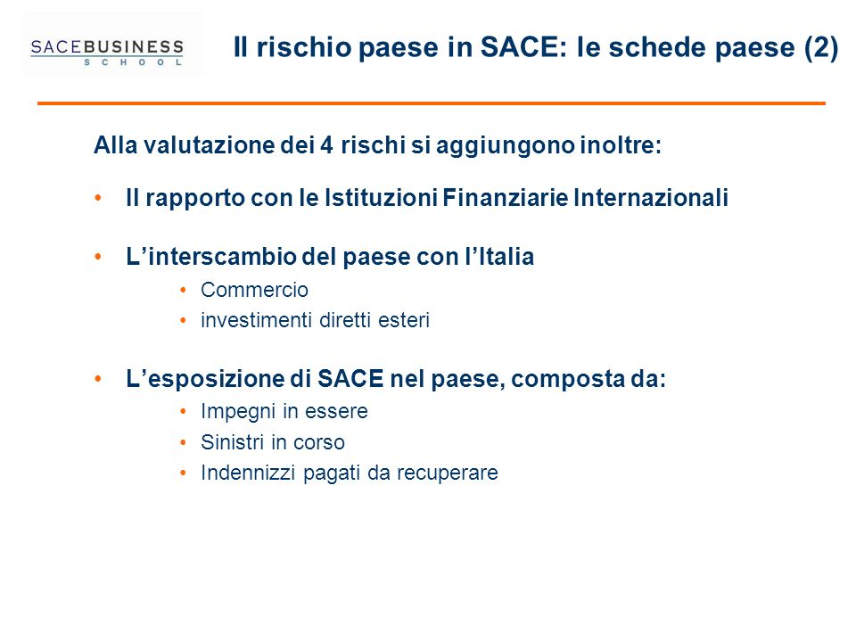 Il rischio paese in SACE: le schede paese (2) Alla valutazione dei 4 rischi si aggiungono inoltre: Il rapporto con le Istituzioni Finanziarie Internaz