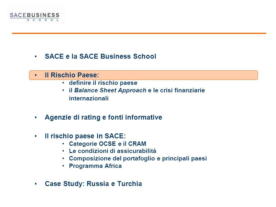 SACE e la SACE Business School Il Rischio Paese: definire il rischio paese il Balance Sheet Approach e le crisi finanziarie internazionali Agenzie di