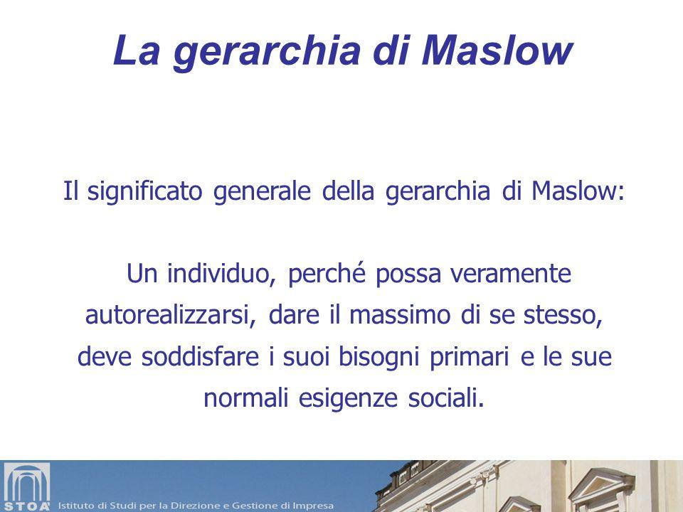 La gerarchia di Maslow 3 il rapporto tra i vari bisogni può generare tensioni e conflitti, 4 sulle manifestazioni dei bisogni e sulle vie scelte per s
