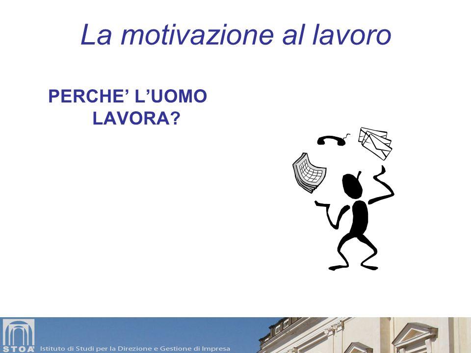 La motivazione al lavoro La sfida di tutte le organizzazioni è condurre-indurre i dipendenti a lavorare in funzione degli obiettivi dellorganizzazione