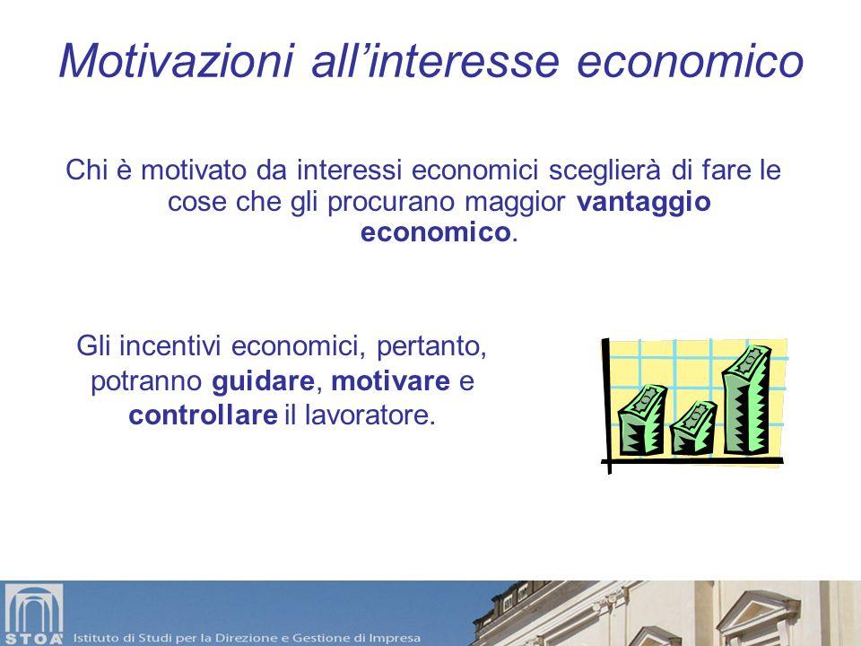 Le motivazioni al lavoro Motivazioni allinteresse economico individuale (Taylor) Motivazioni ai rapporti sociali (Mayo) Motivazioni legate al signific