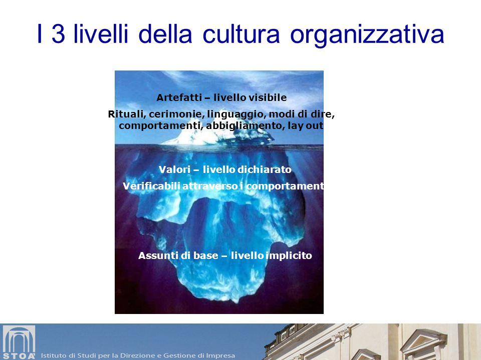 Elementi di una cultura organizzativa Comportamenti ricorrenti nelle relazioni sociali (linguaggi, rituali, consuetudini) Norme implicite fatte propri