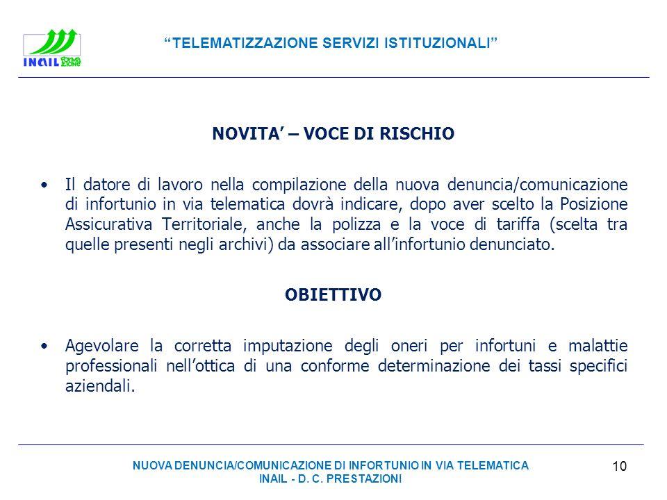 TELEMATIZZAZIONE SERVIZI ISTITUZIONALI NOVITA – VOCE DI RISCHIO Il datore di lavoro nella compilazione della nuova denuncia/comunicazione di infortuni