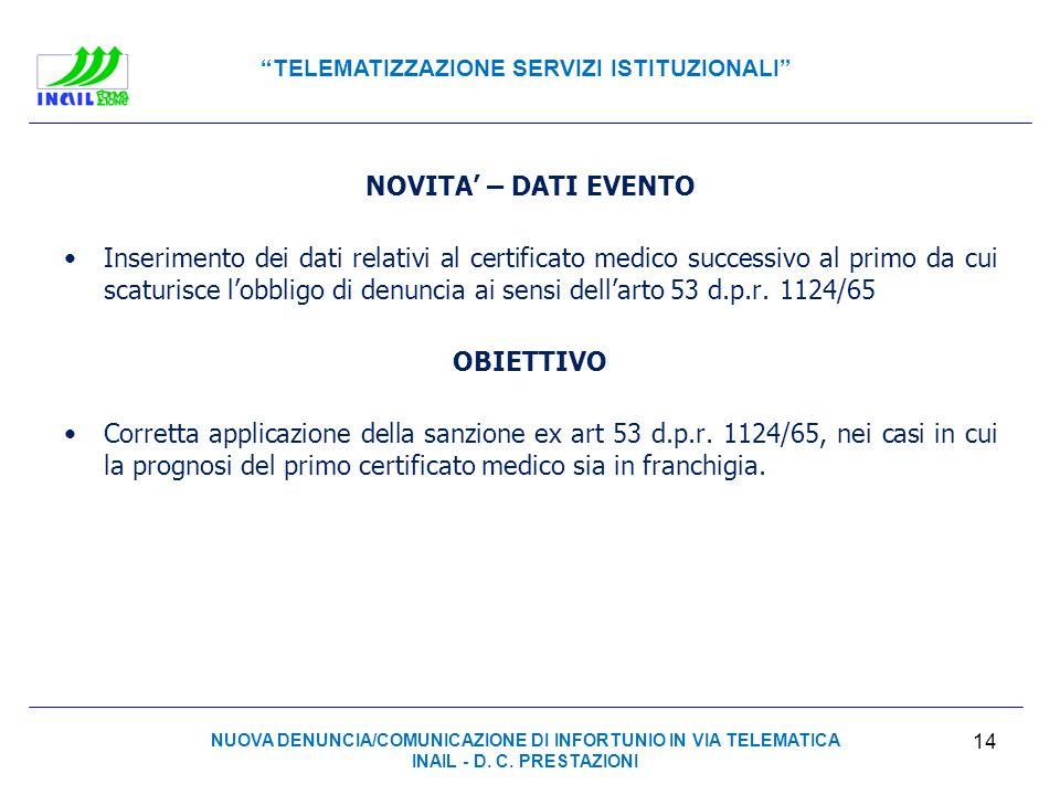 TELEMATIZZAZIONE SERVIZI ISTITUZIONALI NOVITA – DATI EVENTO Inserimento dei dati relativi al certificato medico successivo al primo da cui scaturisce