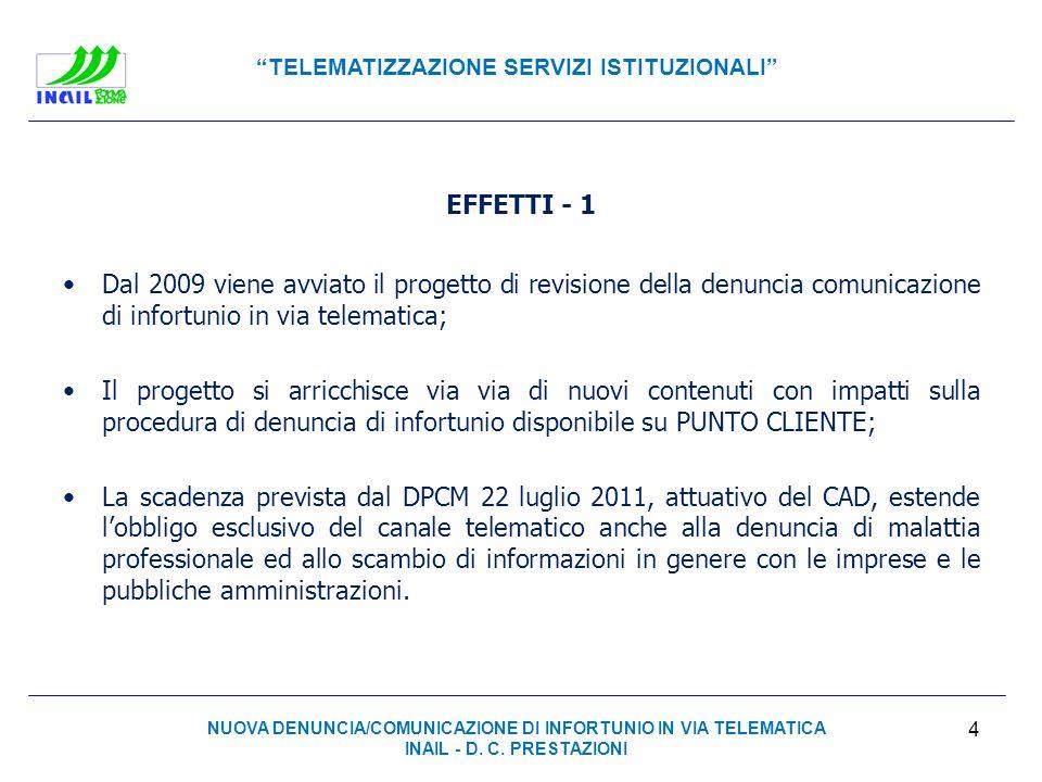 TELEMATIZZAZIONE SERVIZI ISTITUZIONALI EFFETTI - 1 Dal 2009 viene avviato il progetto di revisione della denuncia comunicazione di infortunio in via t