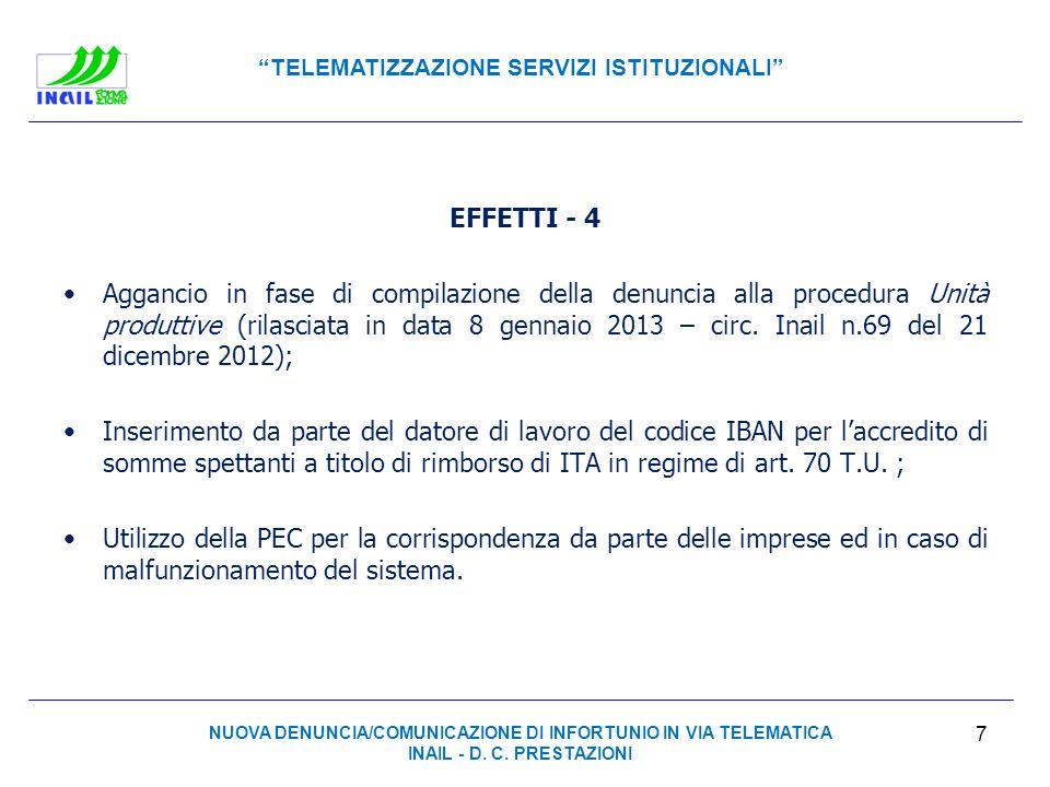 TELEMATIZZAZIONE SERVIZI ISTITUZIONALI EFFETTI - 4 Aggancio in fase di compilazione della denuncia alla procedura Unità produttive (rilasciata in data