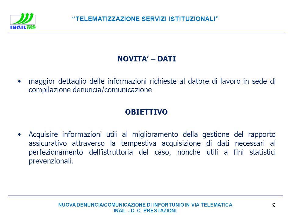 TELEMATIZZAZIONE SERVIZI ISTITUZIONALI NOVITA – DATI maggior dettaglio delle informazioni richieste al datore di lavoro in sede di compilazione denunc