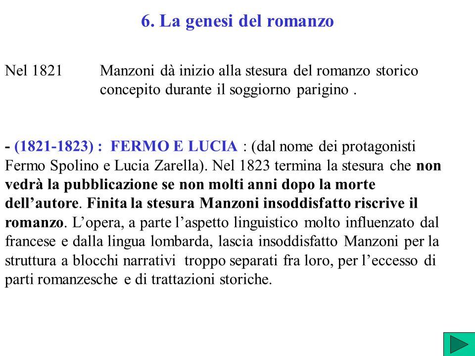 6. La genesi del romanzo Nel 1821 Manzoni dà inizio alla stesura del romanzo storico concepito durante il soggiorno parigino. - (1821-1823) : FERMO E