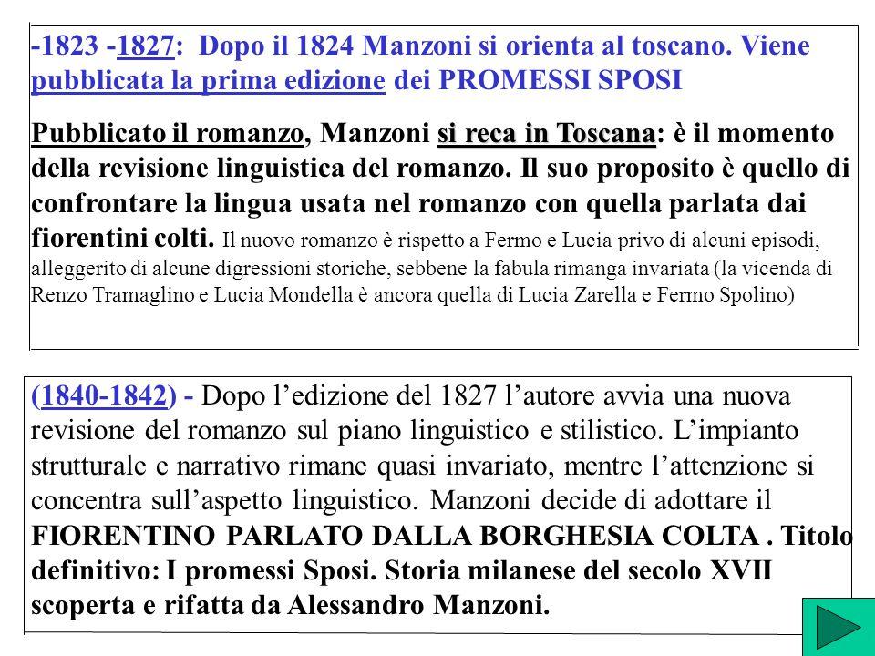 -1823 -1827: Dopo il 1824 Manzoni si orienta al toscano. Viene pubblicata la prima edizione dei PROMESSI SPOSI si reca in Toscana Pubblicato il romanz