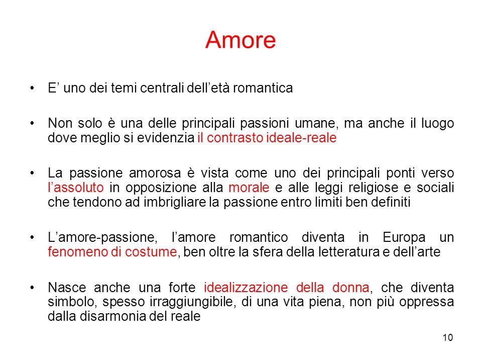 10 Amore E uno dei temi centrali delletà romantica Non solo è una delle principali passioni umane, ma anche il luogo dove meglio si evidenzia il contr