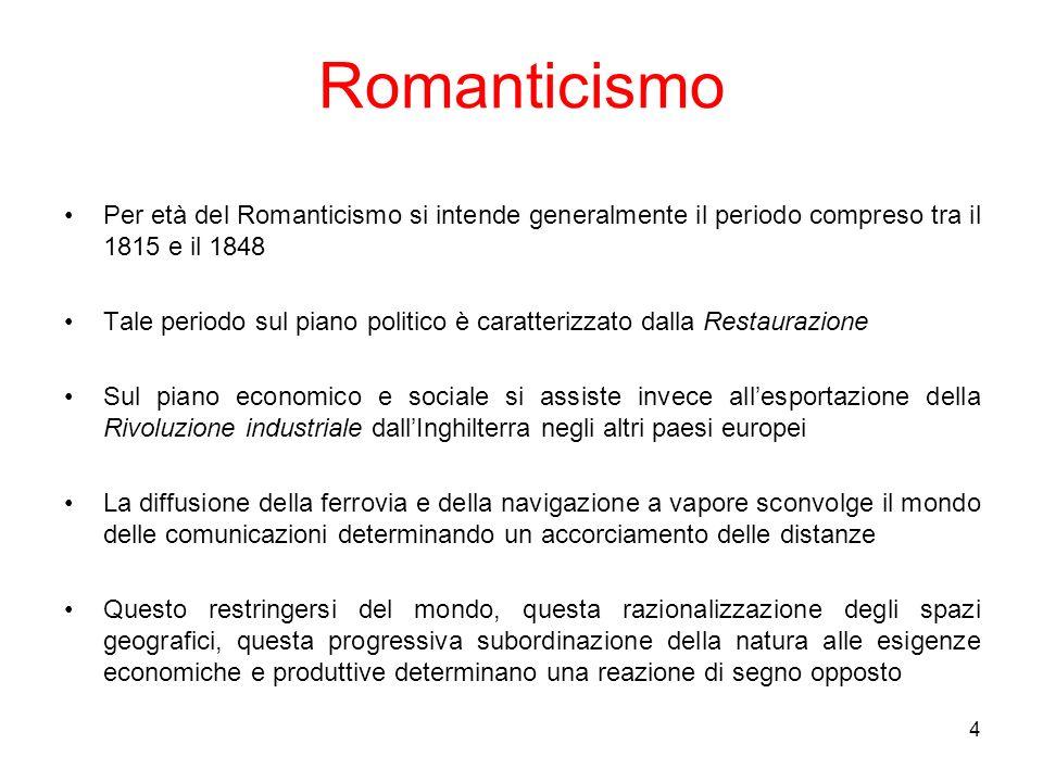 4 Romanticismo Per età del Romanticismo si intende generalmente il periodo compreso tra il 1815 e il 1848 Tale periodo sul piano politico è caratteriz