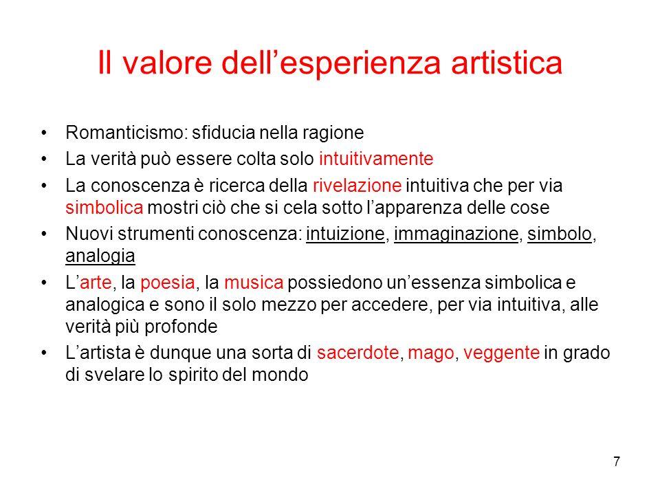 7 Il valore dellesperienza artistica Romanticismo: sfiducia nella ragione La verità può essere colta solo intuitivamente La conoscenza è ricerca della