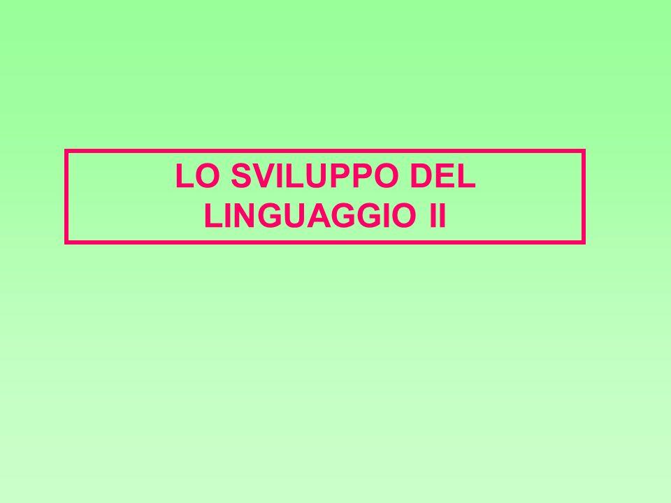 Le prime combinazioni a 20 mesi - correlano con lampiezza del vocabolario - riflettono la conoscenza innata del linguaggio (es.