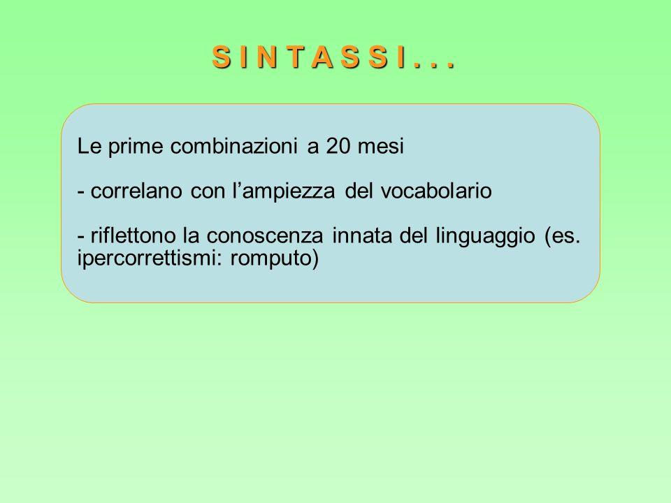 Le prime combinazioni a 20 mesi - correlano con lampiezza del vocabolario - riflettono la conoscenza innata del linguaggio (es. ipercorrettismi: rompu