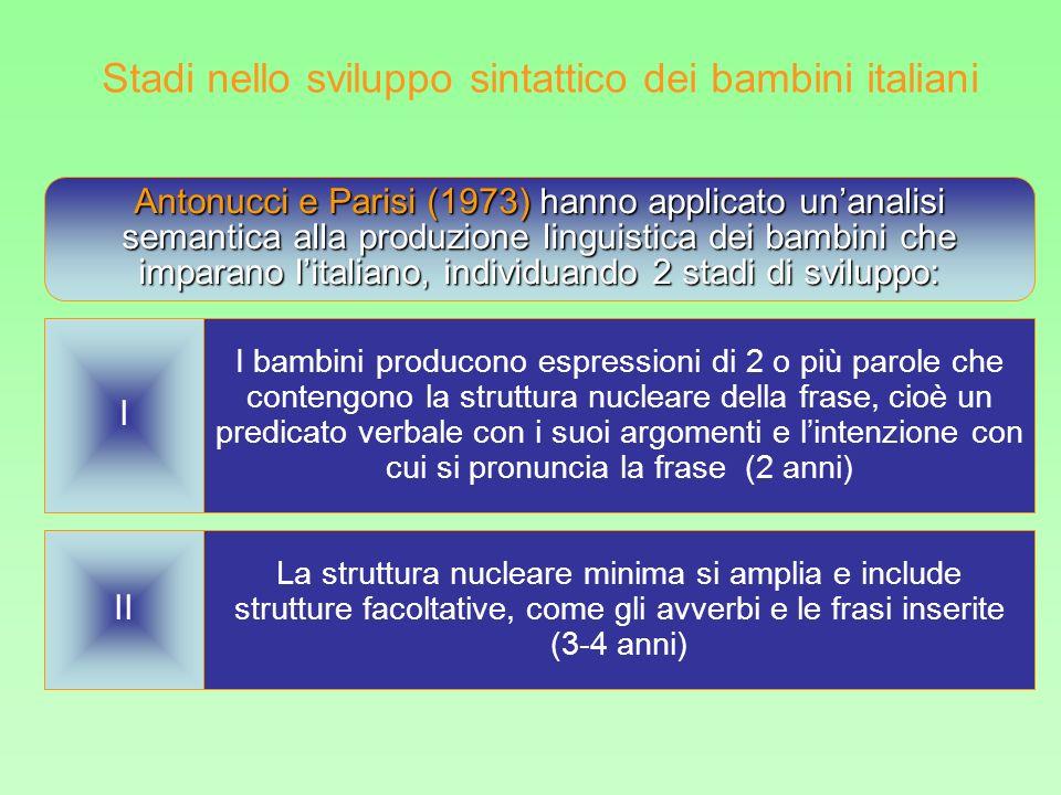 Antonucci e Parisi (1973) hanno applicato unanalisi semantica alla produzione linguistica dei bambini che imparano litaliano, individuando 2 stadi di