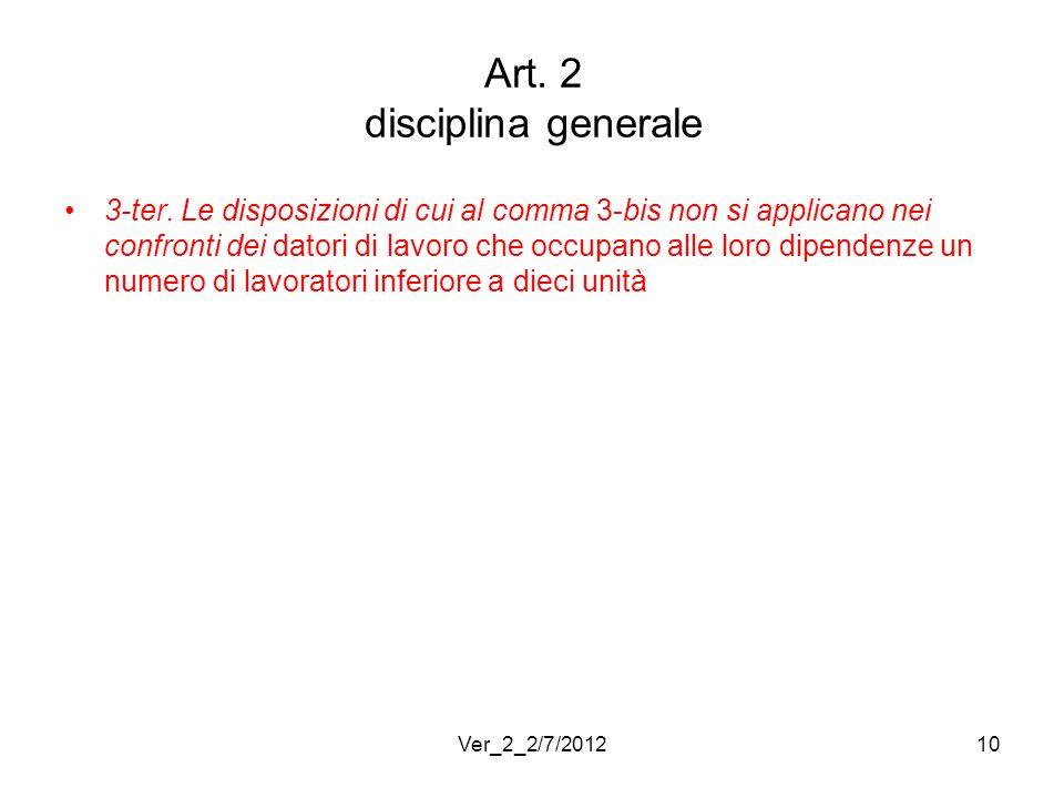 Art. 2 disciplina generale 3-ter. Le disposizioni di cui al comma 3-bis non si applicano nei confronti dei datori di lavoro che occupano alle loro dip