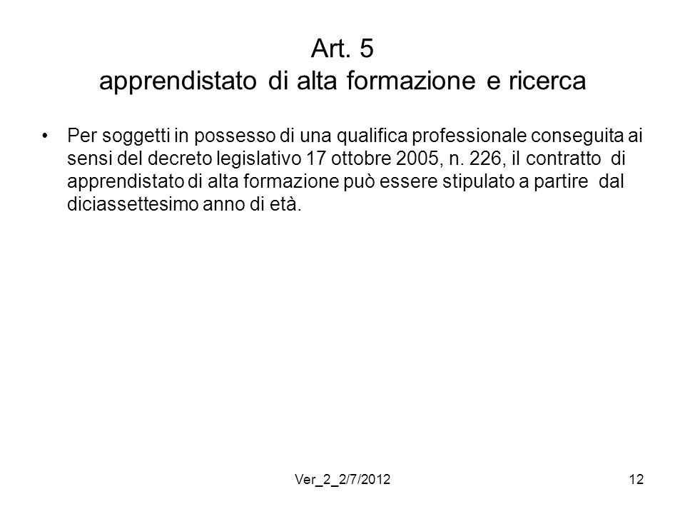 Art. 5 apprendistato di alta formazione e ricerca Per soggetti in possesso di una qualifica professionale conseguita ai sensi del decreto legislativo