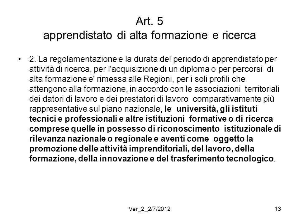 Art. 5 apprendistato di alta formazione e ricerca 2. La regolamentazione e la durata del periodo di apprendistato per attività di ricerca, per l'acqui