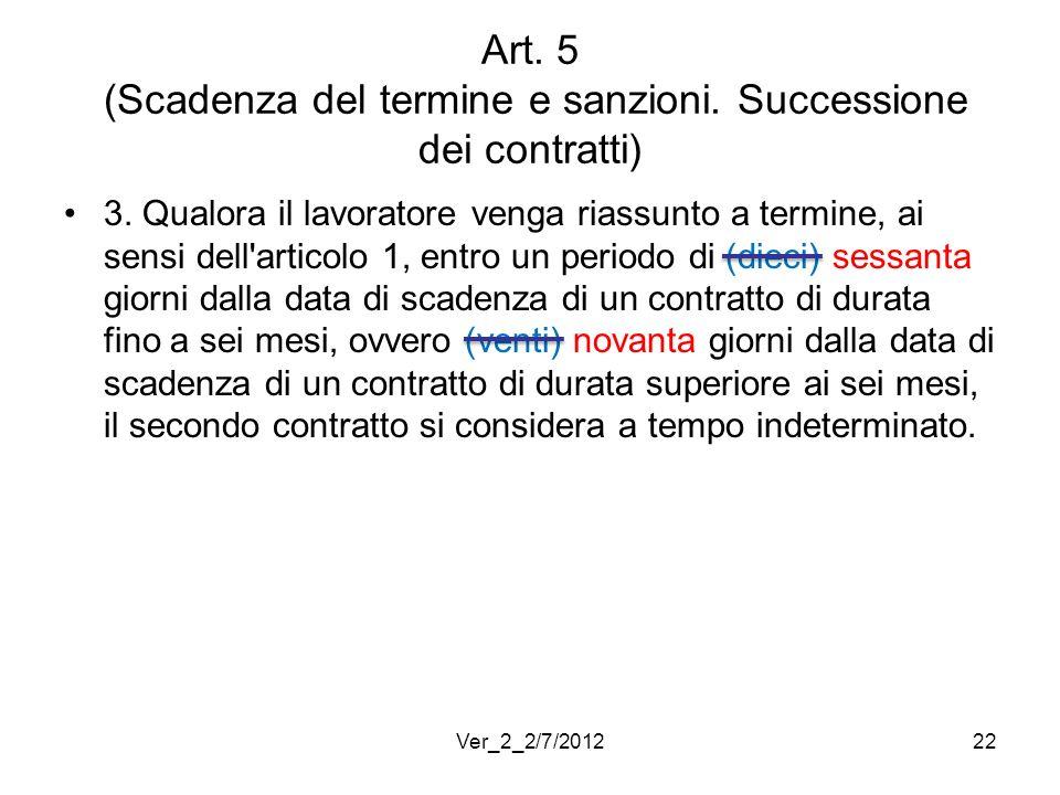 Art. 5 (Scadenza del termine e sanzioni. Successione dei contratti) 3. Qualora il lavoratore venga riassunto a termine, ai sensi dell'articolo 1, entr