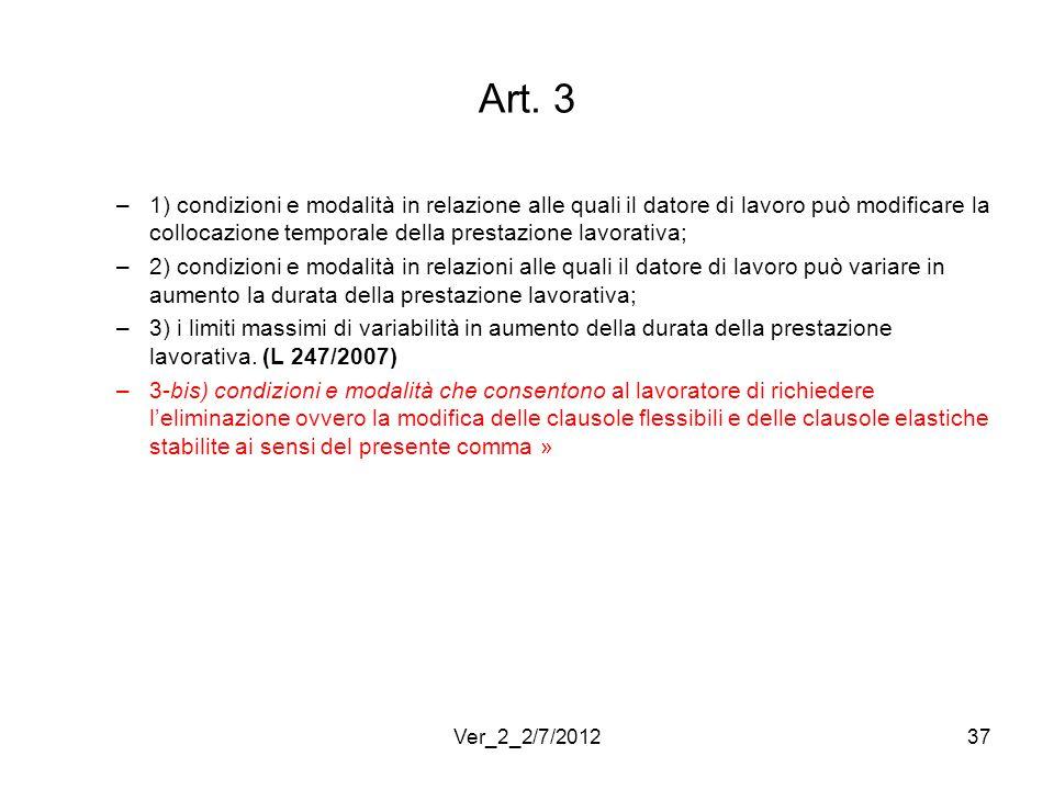 Art. 3 –1) condizioni e modalità in relazione alle quali il datore di lavoro può modificare la collocazione temporale della prestazione lavorativa; –2