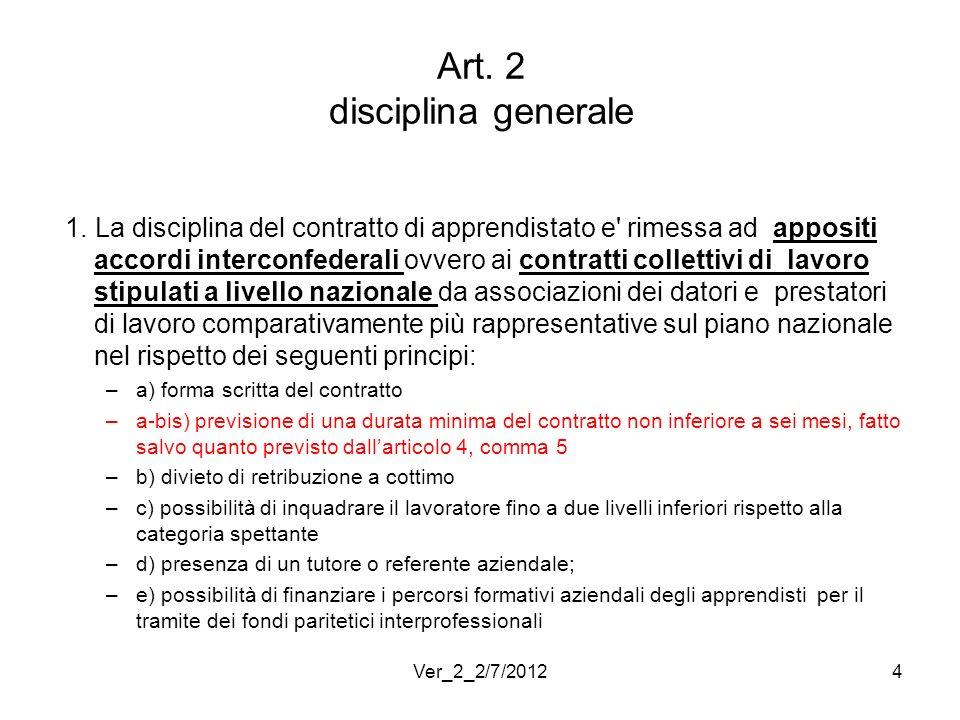 Art. 2 disciplina generale 1. La disciplina del contratto di apprendistato e' rimessa ad appositi accordi interconfederali ovvero ai contratti collett