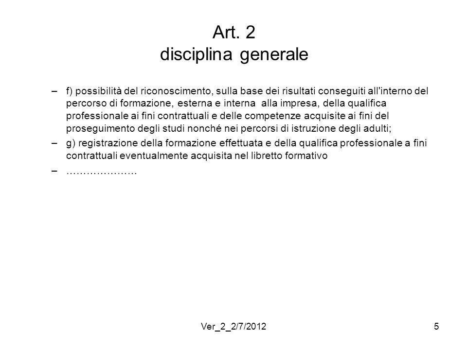 Art. 2 disciplina generale –f) possibilità del riconoscimento, sulla base dei risultati conseguiti all'interno del percorso di formazione, esterna e i