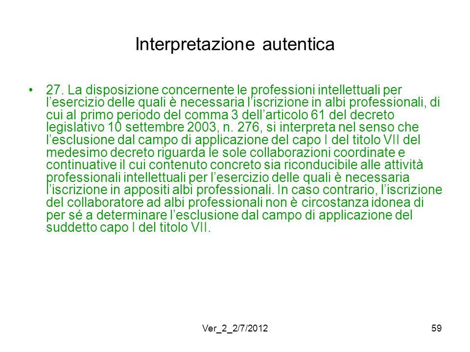 Interpretazione autentica 27. La disposizione concernente le professioni intellettuali per lesercizio delle quali è necessaria liscrizione in albi pro
