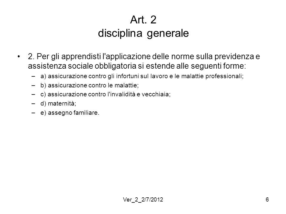 Art. 2 disciplina generale 2. Per gli apprendisti l'applicazione delle norme sulla previdenza e assistenza sociale obbligatoria si estende alle seguen