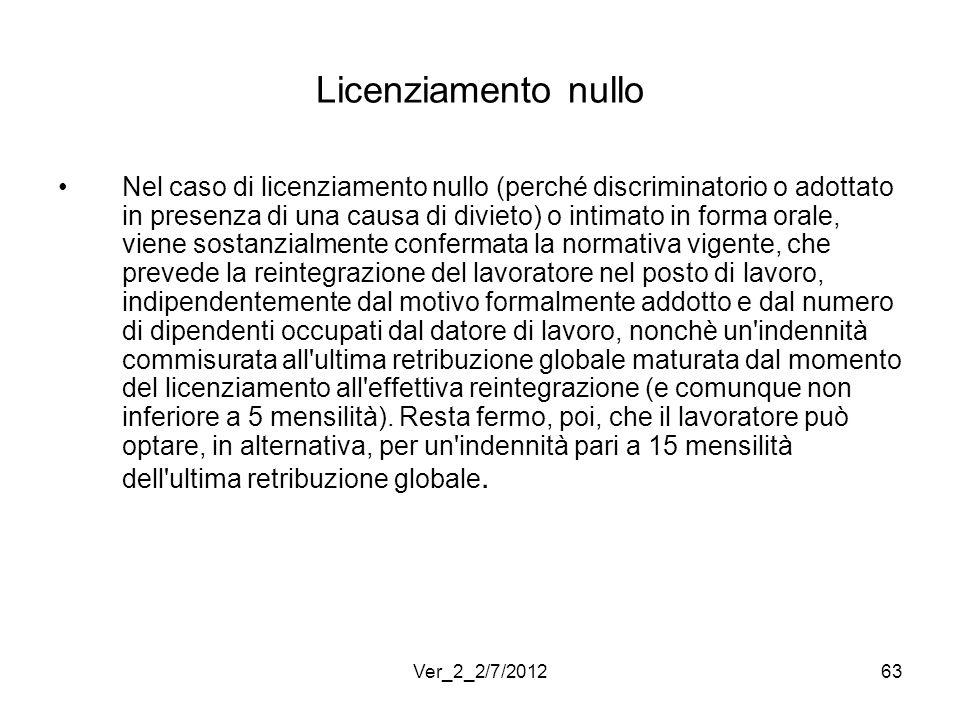 Licenziamento nullo Nel caso di licenziamento nullo (perché discriminatorio o adottato in presenza di una causa di divieto) o intimato in forma orale,