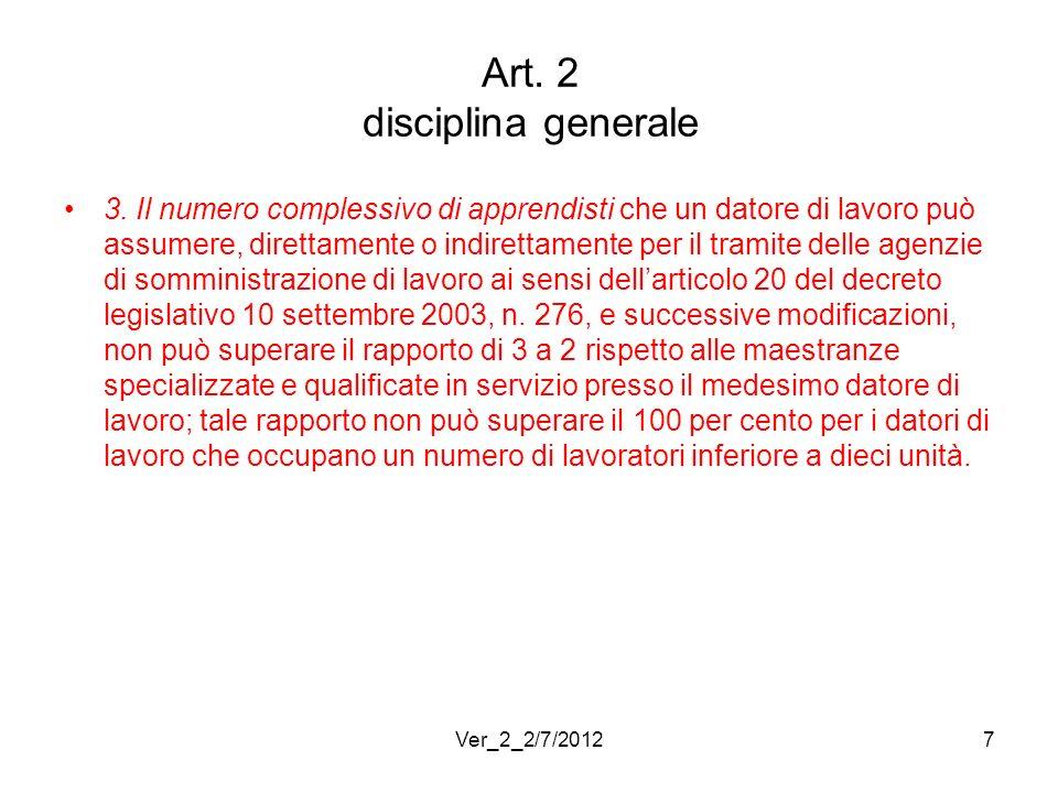 Art. 2 disciplina generale 3. Il numero complessivo di apprendisti che un datore di lavoro può assumere, direttamente o indirettamente per il tramite