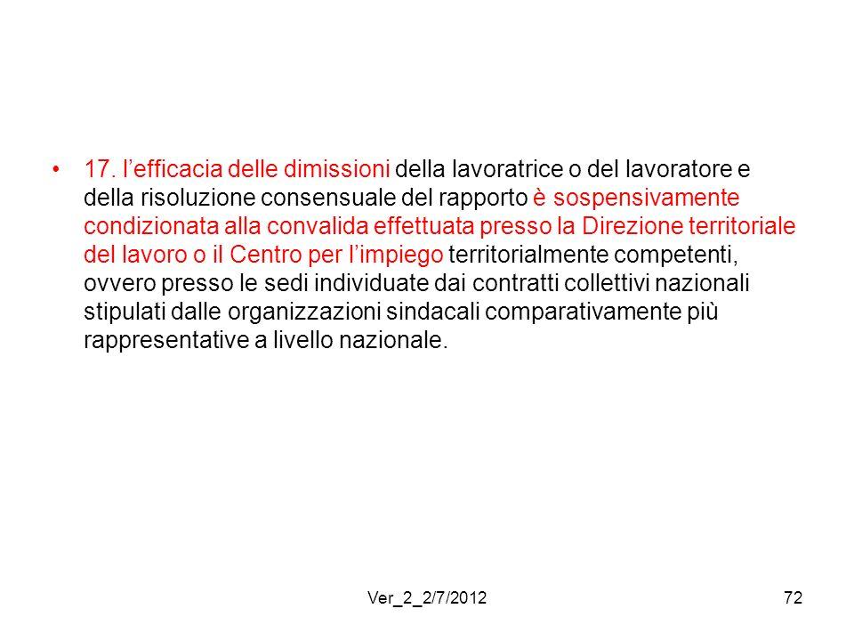 17. lefficacia delle dimissioni della lavoratrice o del lavoratore e della risoluzione consensuale del rapporto è sospensivamente condizionata alla co