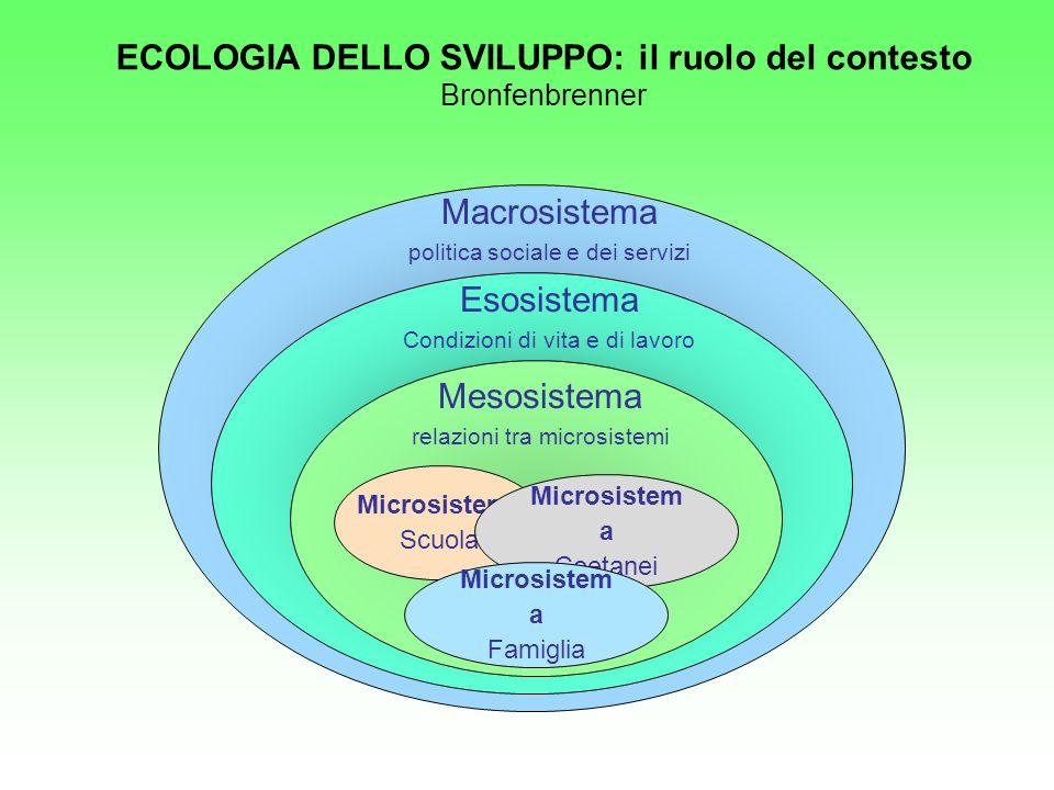 Microsistema Scuola Microsistem a Coetanei Macrosistema politica sociale e dei servizi Esosistema Condizioni di vita e di lavoro Mesosistema relazioni