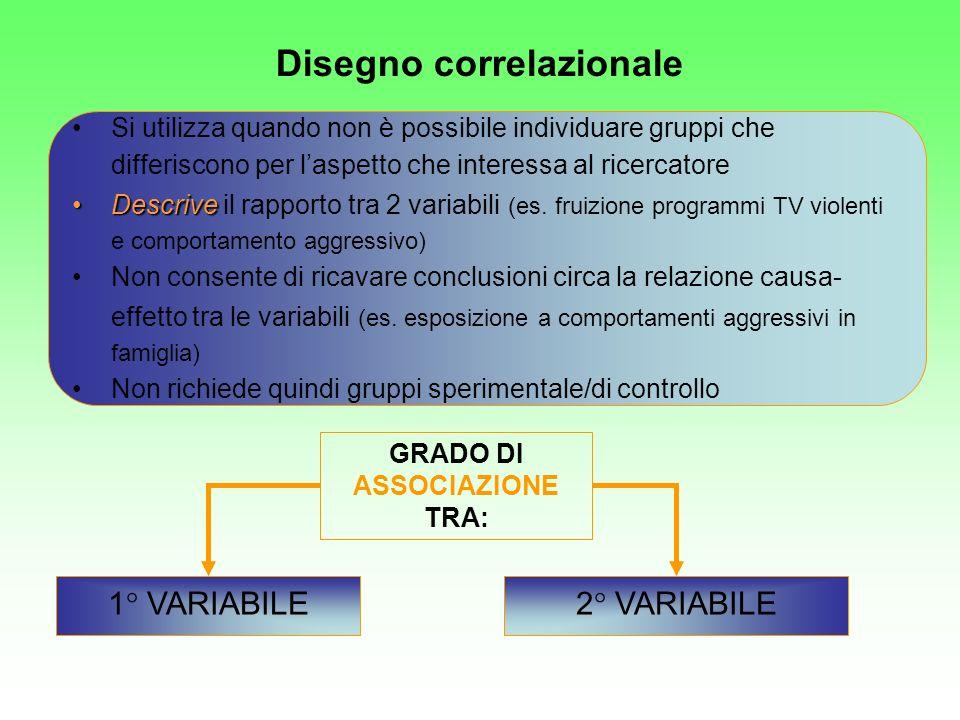 1° VARIABILE2° VARIABILE Si utilizza quando non è possibile individuare gruppi che differiscono per laspetto che interessa al ricercatore DescriveDesc