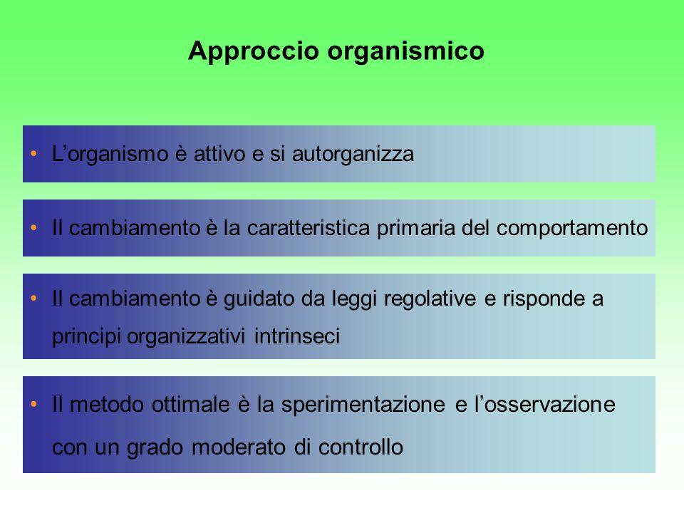 Lorganismo è attivo e si autorganizza Il cambiamento è la caratteristica primaria del comportamento Il metodo ottimale è la sperimentazione e losserva