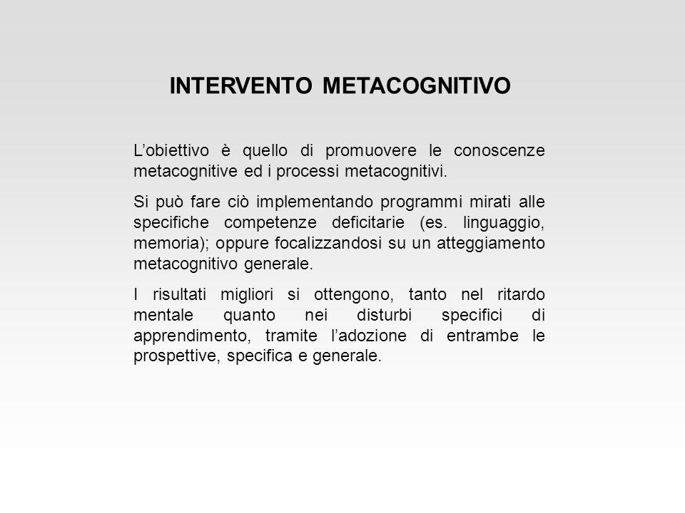 INTERVENTO METACOGNITIVO Lobiettivo è quello di promuovere le conoscenze metacognitive ed i processi metacognitivi. Si può fare ciò implementando prog