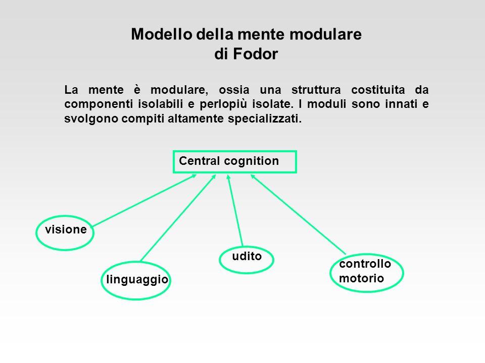 Modello della mente modulare di Fodor La mente è modulare, ossia una struttura costituita da componenti isolabili e perlopiù isolate. I moduli sono in