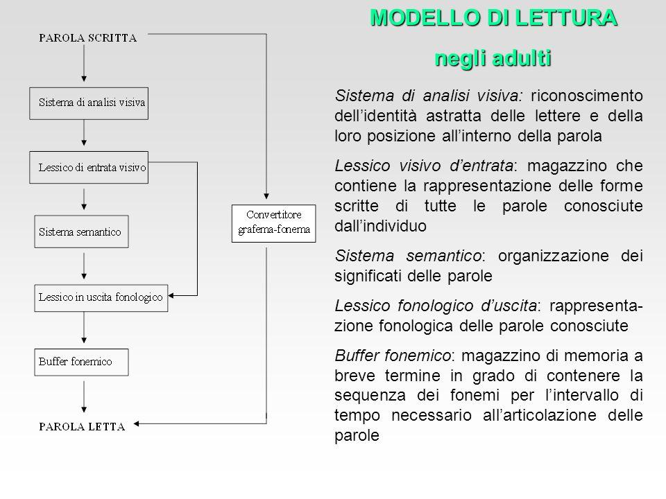 Sistema di analisi visiva: riconoscimento dellidentità astratta delle lettere e della loro posizione allinterno della parola Lessico visivo dentrata: