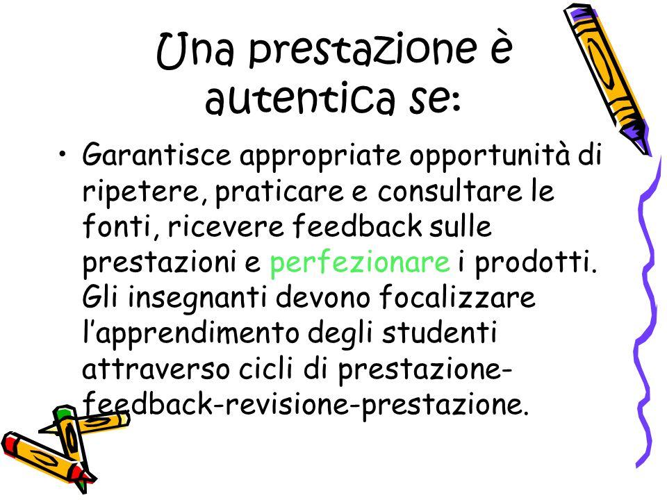 Una prestazione è autentica se: Garantisce appropriate opportunità di ripetere, praticare e consultare le fonti, ricevere feedback sulle prestazioni e