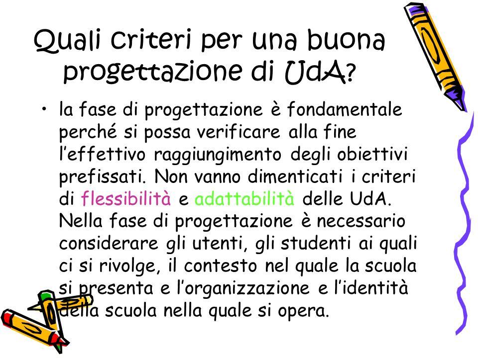 Quali criteri per una buona progettazione di UdA? la fase di progettazione è fondamentale perché si possa verificare alla fine leffettivo raggiungimen