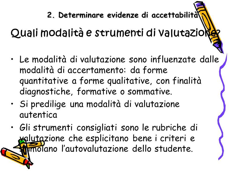 2. Determinare evidenze di accettabilità Quali modalità e strumenti di valutazione? Le modalità di valutazione sono influenzate dalle modalità di acce