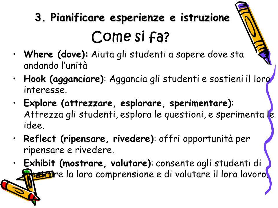 3.Pianificare esperienze e istruzione Come si fa.