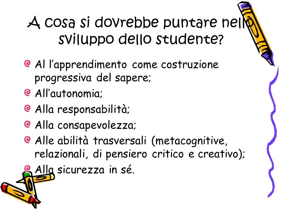A cosa si dovrebbe puntare nello sviluppo dello studente? Al lapprendimento come costruzione progressiva del sapere; Allautonomia; Alla responsabilità