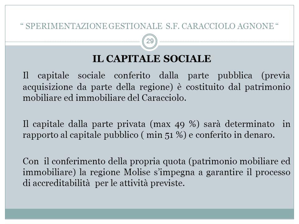 29 IL CAPITALE SOCIALE Il capitale sociale conferito dalla parte pubblica (previa acquisizione da parte della regione) è costituito dal patrimonio mobiliare ed immobiliare del Caracciolo.