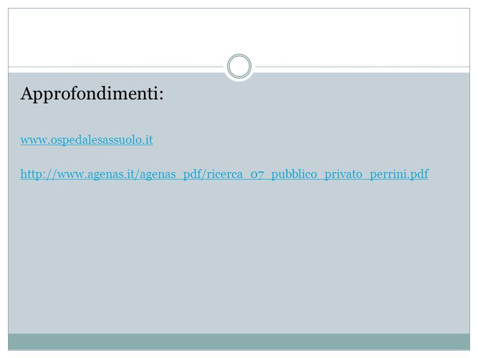 Approfondimenti: www.ospedalesassuolo.it http://www.agenas.it/agenas_pdf/ricerca_07_pubblico_privato_perrini.pdf