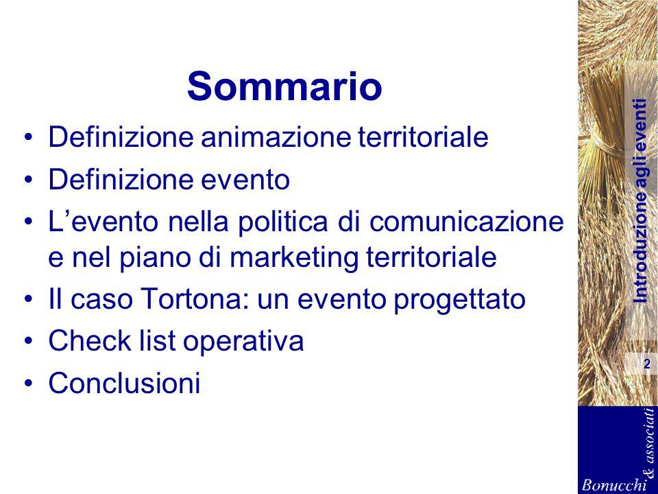 Introduzione agli eventi 2 Sommario Definizione animazione territoriale Definizione evento Levento nella politica di comunicazione e nel piano di mark
