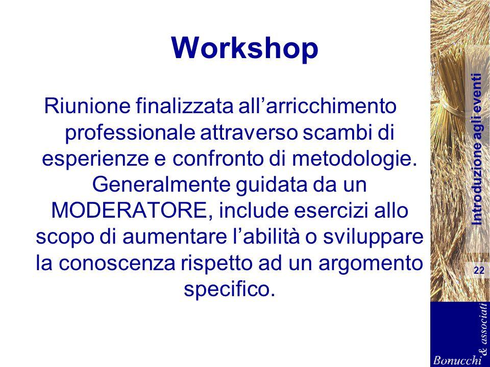Introduzione agli eventi 22 Workshop Riunione finalizzata allarricchimento professionale attraverso scambi di esperienze e confronto di metodologie. G