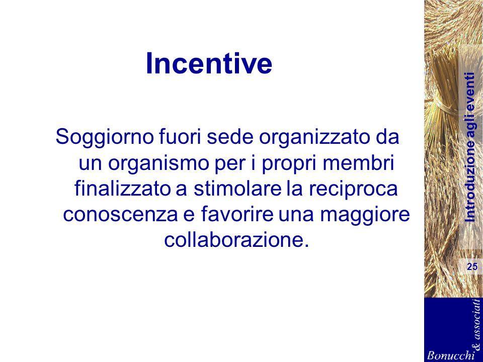 Introduzione agli eventi 25 Incentive Soggiorno fuori sede organizzato da un organismo per i propri membri finalizzato a stimolare la reciproca conosc