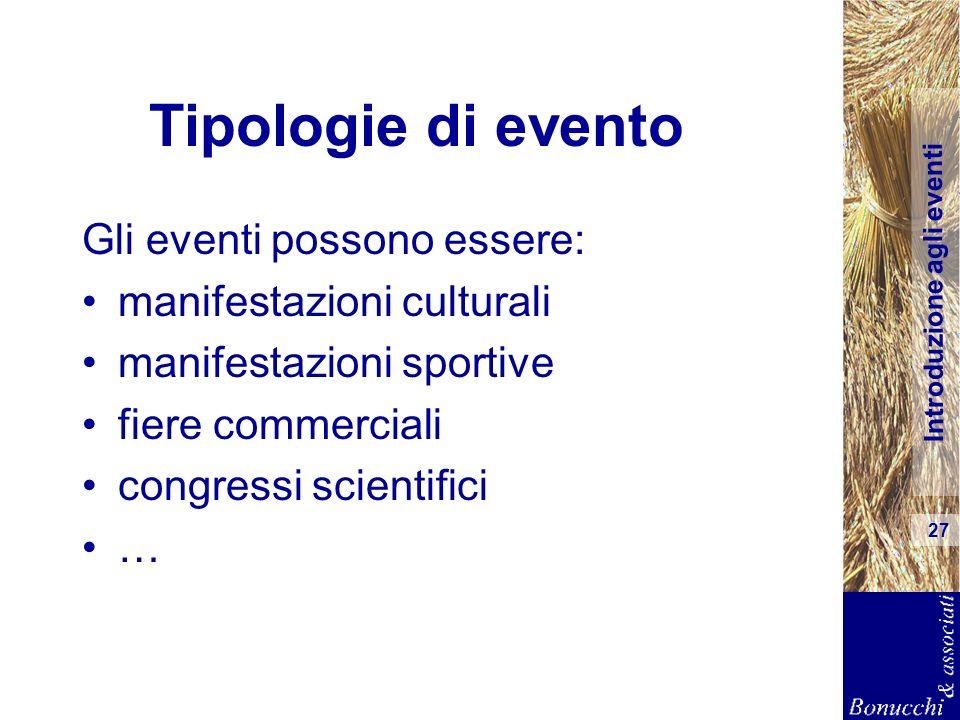 Introduzione agli eventi 27 Tipologie di evento Gli eventi possono essere: manifestazioni culturali manifestazioni sportive fiere commerciali congress